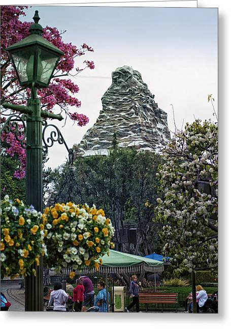 Amusements Greeting Cards - Matterhorn Mountain With Flowers At Disneyland Greeting Card by Thomas Woolworth