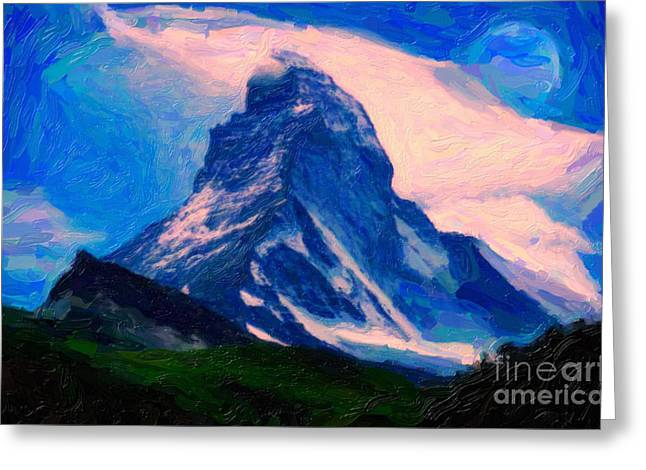 Vale Greeting Cards - Matterhorn peak Greeting Card by Celestial Images