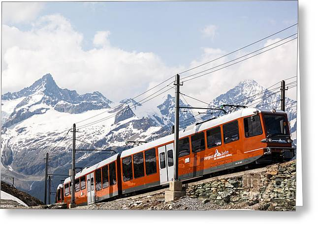Zermatt Greeting Cards - Matterhorn railway Zermatt Switzerland Greeting Card by Matteo Colombo