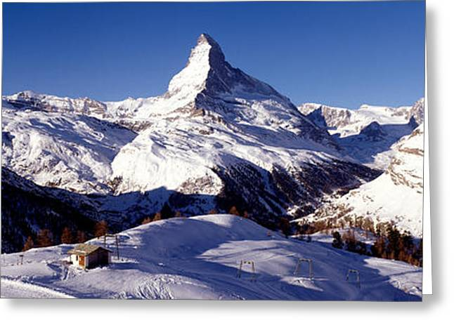 Wintry Greeting Cards - Matterhorn, Zermatt, Switzerland Greeting Card by Panoramic Images