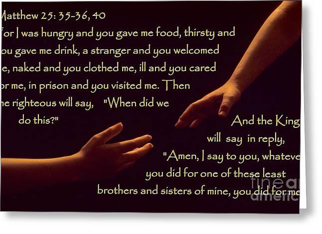 Matthew 25 Greeting Card by Sharon Elliott