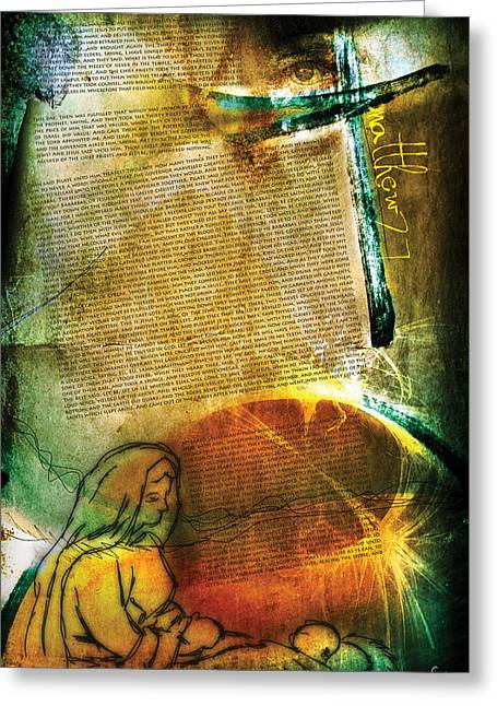 Pentecost Greeting Cards - Matthew 27 Greeting Card by Switchvues Design
