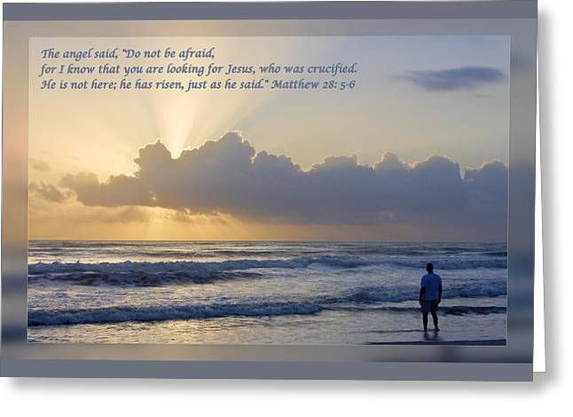 Gospel Greeting Cards - Matthew 28 5-6 Greeting Card by Dawn Currie