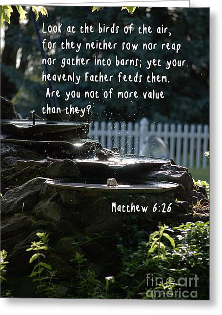 Valuable Photographs Greeting Cards - Matthew 6 26 Greeting Card by Sharon Elliott