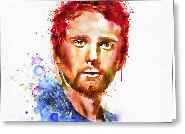 British Portraits Mixed Media Greeting Cards - Matthew Bellamy watercolor Greeting Card by Marian Voicu