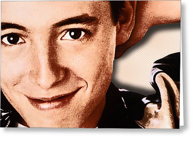 Peterson Greeting Cards - Matthew Broderick in Ferris Buellers Day Off  Greeting Card by Tony Rubino