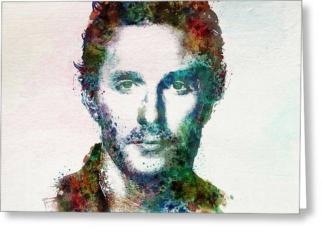 Sized Mixed Media Greeting Cards - Matthew McConaughey watercolor Greeting Card by Marian Voicu