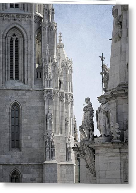 Buda Greeting Cards - Matthias Church and Holy Trinity Column Greeting Card by Joan Carroll