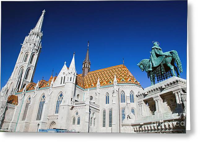 Neo-gothic-style Greeting Cards - Matthias Church and statue of Stephen I in Budapest Greeting Card by Michal Bednarek