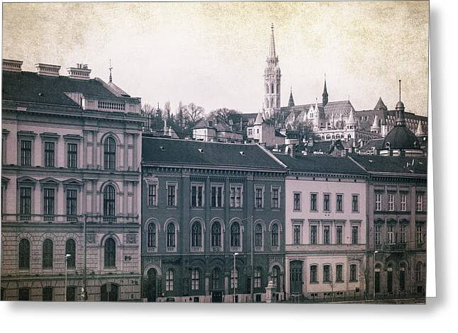 Bastion Greeting Cards - Matthias Church and Vizivaros Greeting Card by Joan Carroll