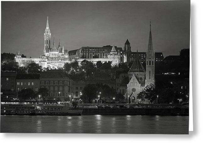 Bastion Greeting Cards - Matthias Church Night BW Greeting Card by Joan Carroll