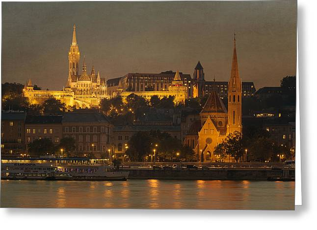 Bastion Greeting Cards - Matthias Church Night Greeting Card by Joan Carroll