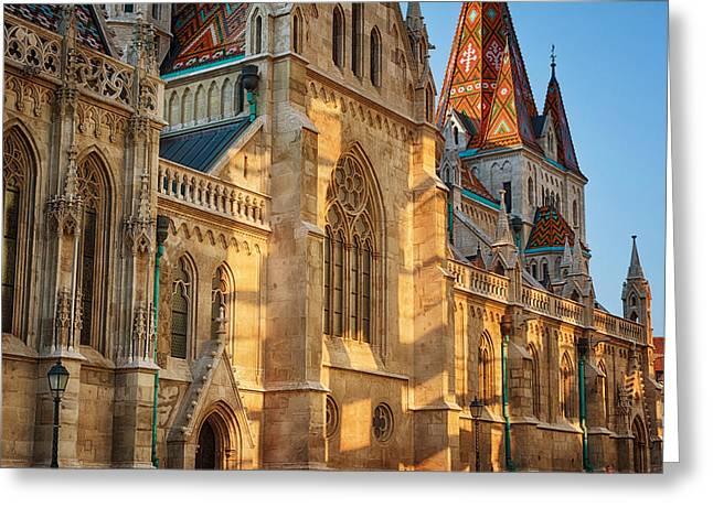 Buda Greeting Cards - Matthias Church Reflections I Greeting Card by Joan Carroll