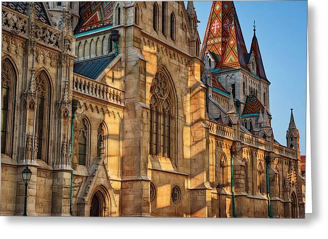 Buda Greeting Cards - Matthias Church Reflections II Greeting Card by Joan Carroll