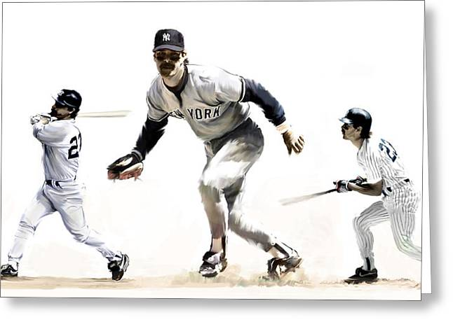Yankees Drawings Greeting Cards - Mattingly Don Mattingly Greeting Card by Iconic Images Art Gallery David Pucciarelli