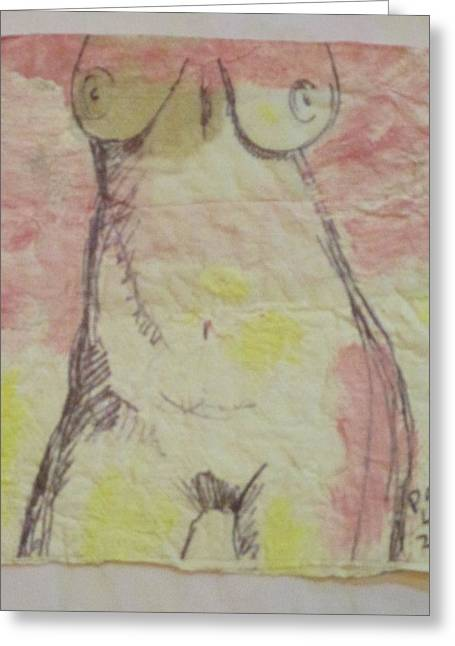 Bellybutton Greeting Cards - Mature Womans Torso- napkin art Greeting Card by David Lovins