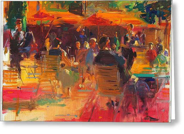 Al Fresco Greeting Cards - Maturing Sun, Paris Oil On Canvas Greeting Card by Peter Graham