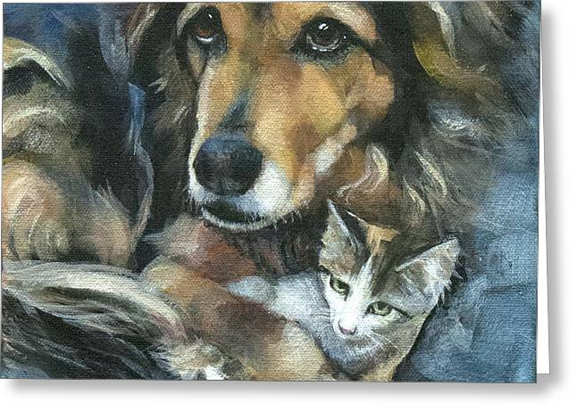 Maty and Lennox Greeting Card by Mary Medrano