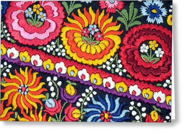 Andrea Lazar Greeting Cards - Hungarian Matyo Szentgyorgy Folk Embroidery Photographic Print Greeting Card by  Andrea Lazar