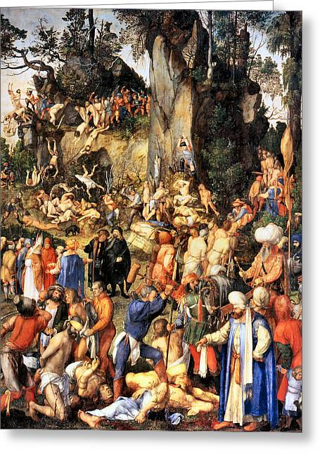 Martyrs Digital Art Greeting Cards - Matyrdom of the Ten Thousand Greeting Card by Albrecht Durer