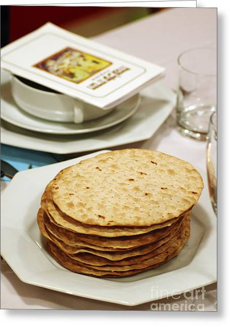 Goblet Greeting Cards - Matza and Haggada for pesach Greeting Card by Ilan Rosen