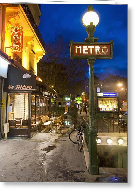 Quartier Greeting Cards - Maubert-mutualite Metro Station And Greeting Card by Ian Cumming