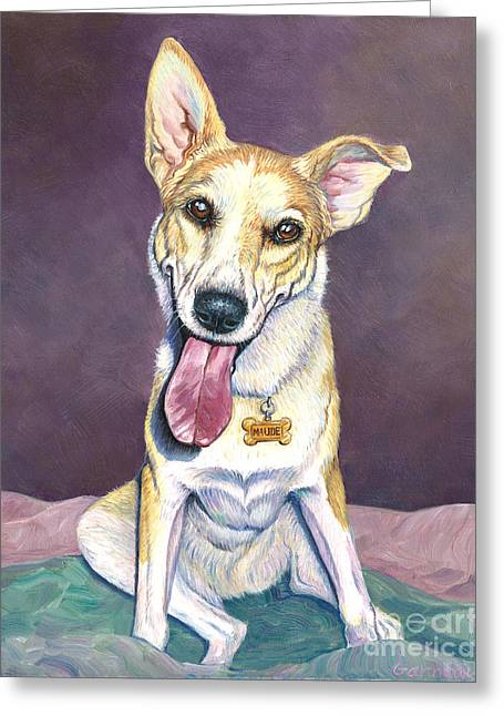 Mixed Labrador Retriever Paintings Greeting Cards - Maude Greeting Card by Catherine Garneau