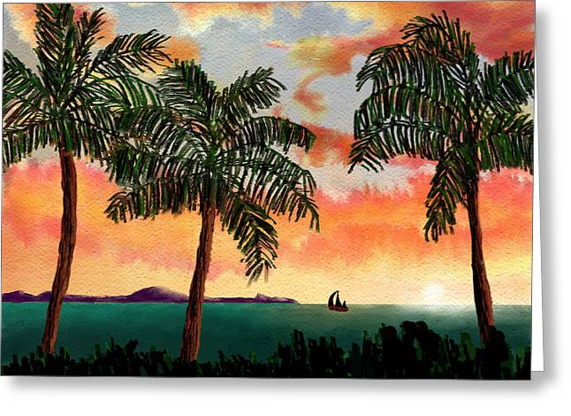 ; Maui Pastels Greeting Cards - Maui at Dusk Greeting Card by Kerry Mitchell