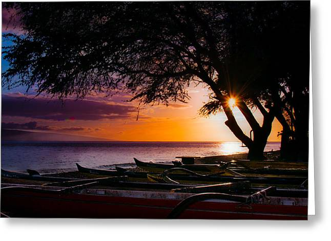 Ocean Sailing Greeting Cards - Maui Canoe Club Greeting Card by Camille Lopez