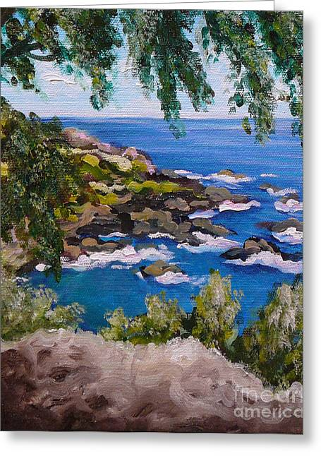 Gayle Utter Greeting Cards - Maui Cliff Greeting Card by Gayle Utter