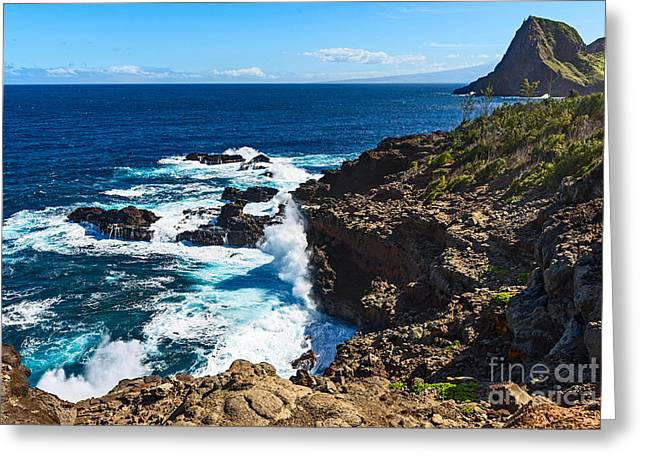 ; Maui Greeting Cards - Maui Coast - view of the rugged West Coast Greeting Card by Jamie Pham