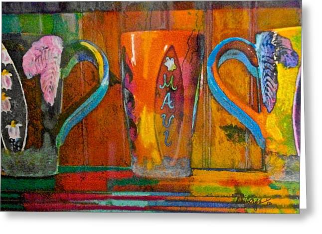 ; Maui Pastels Greeting Cards - Maui Cups Pastel Greeting Card by Anthony George