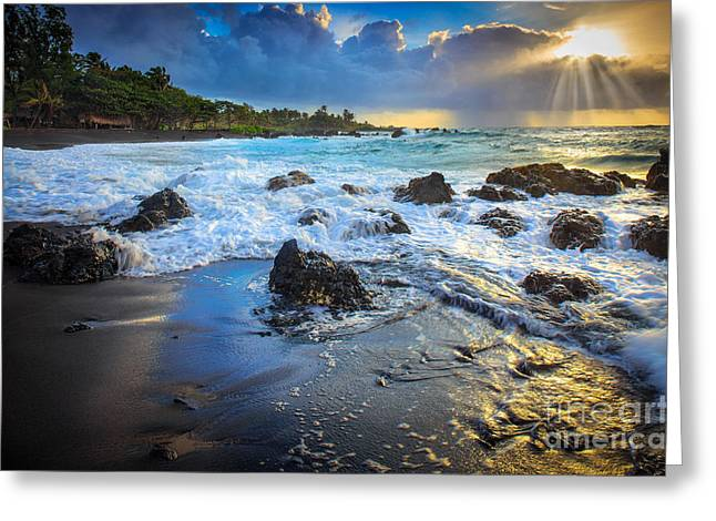 Backlit Greeting Cards - Maui Dawn Greeting Card by Inge Johnsson