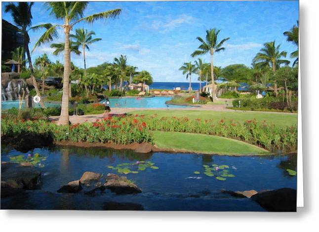 ; Maui Paintings Greeting Cards - Maui Garden Greeting Card by Danny Smythe
