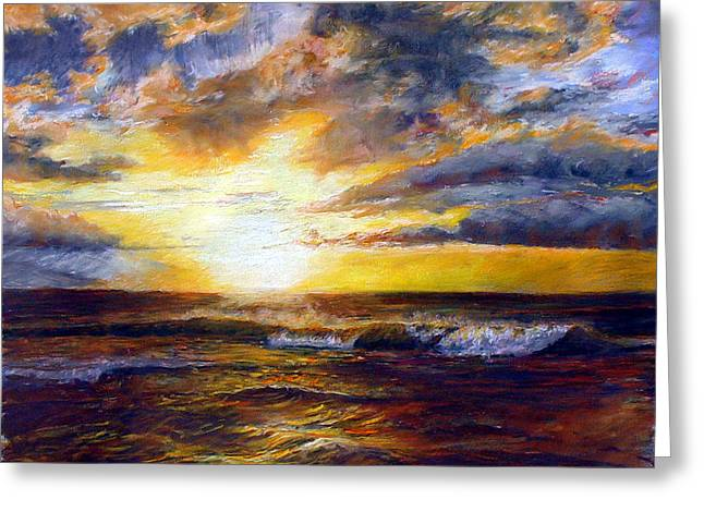 Best Sellers -  - Pacific Ocean Prints Greeting Cards - Maui Gold Greeting Card by Mary Giacomini