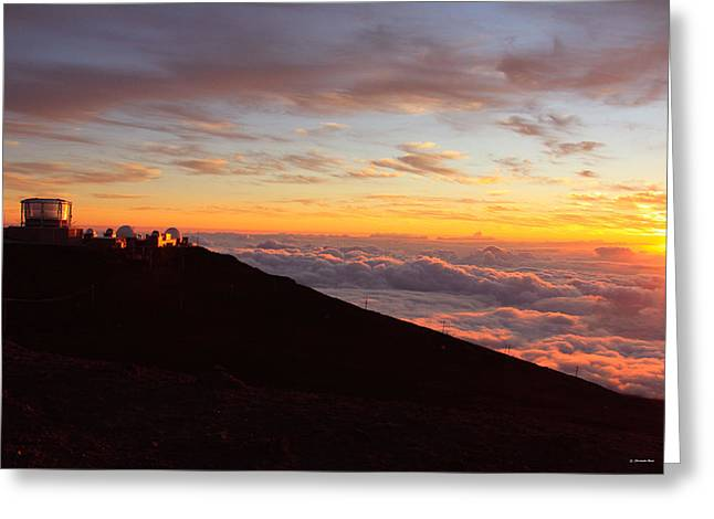 Sunset Posters Greeting Cards - Maui Hawaii sunset from Haleakala  Greeting Card by Christopher  Ward