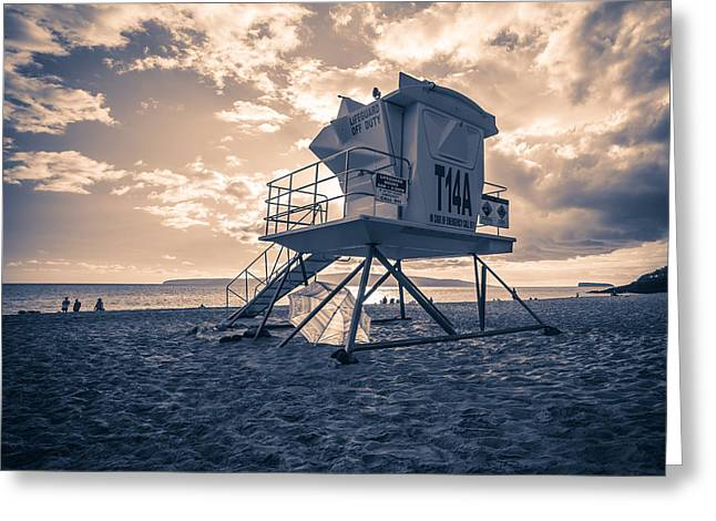 Ocean Art Photography Greeting Cards - Maui Hawaii Sunset with Lifeguard Shack Greeting Card by Edward Fielding