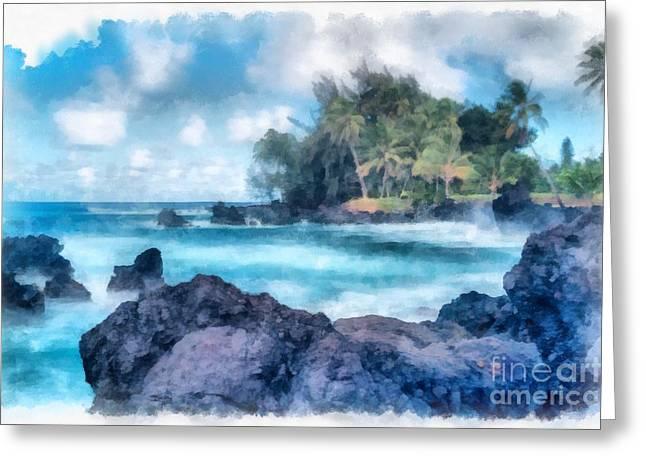 ; Maui Greeting Cards - Maui Hawaii Watercolor Greeting Card by Edward Fielding
