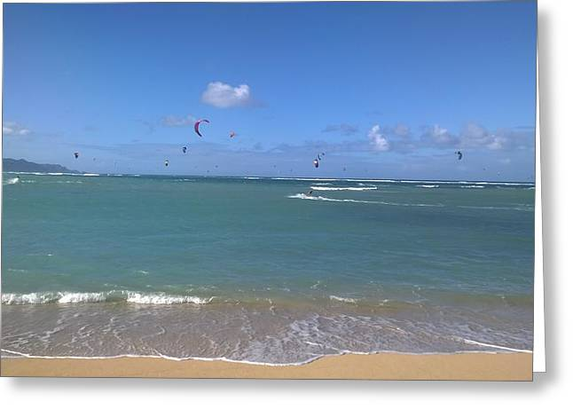 Kiteboarding Greeting Cards - Maui Kite Boarders In Flight Greeting Card by Sherry Barcelo