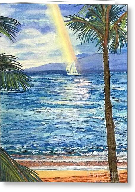 ; Maui Pastels Greeting Cards - Maui Rainbow Greeting Card by Frank Giordano