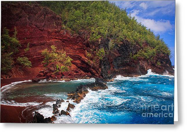 Maui Red Sand Beach Greeting Card by Inge Johnsson