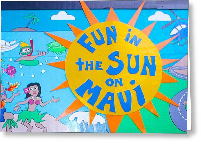 Surf City Greeting Cards - Maui Street Art Mural Greeting Card by Sheela Ajith