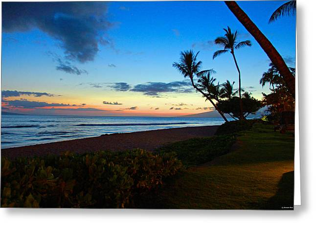 Sunset Greeting Cards Greeting Cards - Maui Sun Set Greeting Card by Christopher  Ward