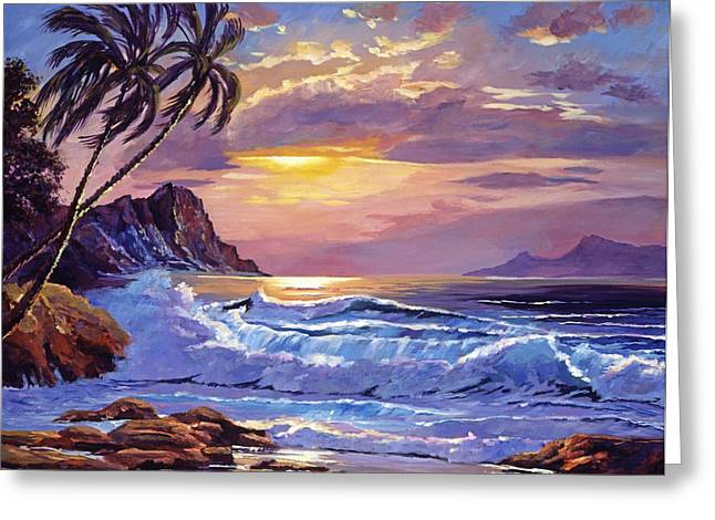 ; Maui Paintings Greeting Cards - Maui Sunset Greeting Card by David Lloyd Glover