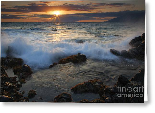 Maui Greeting Cards - Maui Sunset Spray Greeting Card by Mike  Dawson