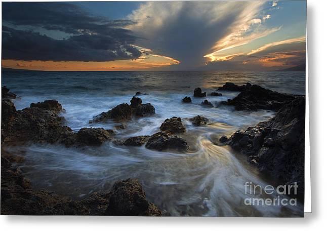 Lanai Greeting Cards - Maui Sunset Tides Greeting Card by Mike  Dawson