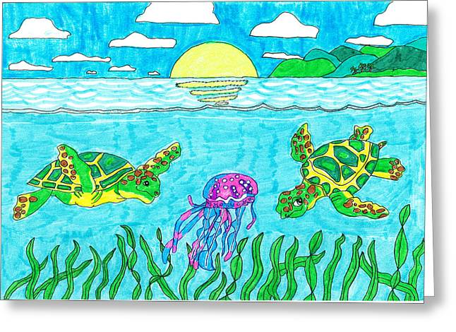 ; Maui Drawings Greeting Cards - Maui Turtles with Jellyfish Greeting Card by Jay or Jaz Kelber