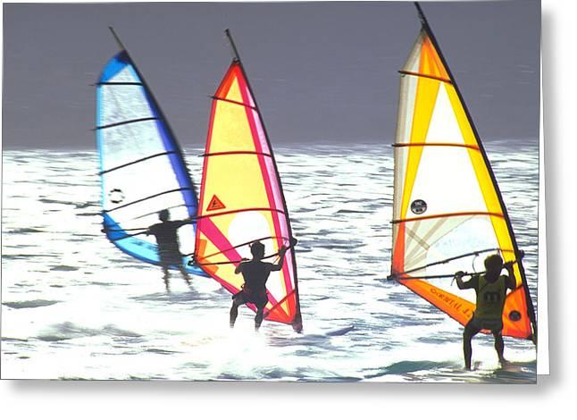 Maui Windsurfers Greeting Card by Douglas Peebles