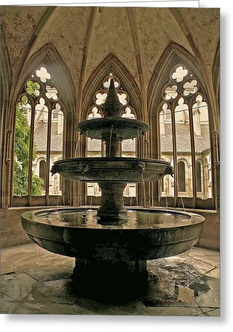 Quatrefoil Greeting Cards - Maulbronn Fountain Greeting Card by Jean Hall