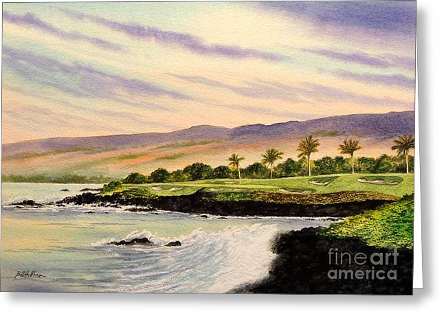 The North Greeting Cards - Mauna Kea Golf Course Hawaii Hole 3 Greeting Card by Bill Holkham